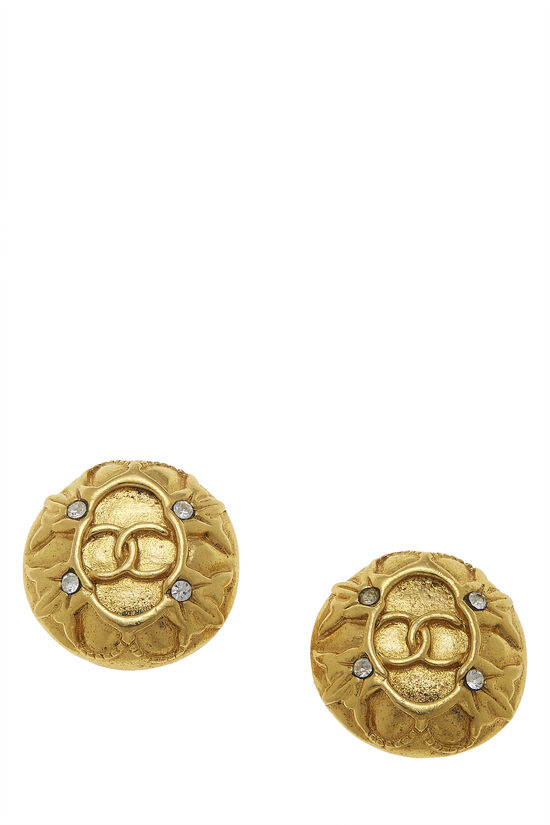 Gold & Crystal 'CC' Button Earrings, , large image number 0
