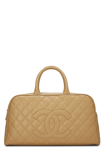 Beige Quilted Caviar Bowler