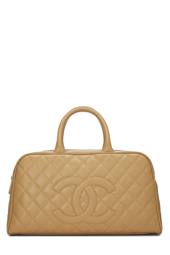 Beige Quilted Caviar Bowler, , large image number 0