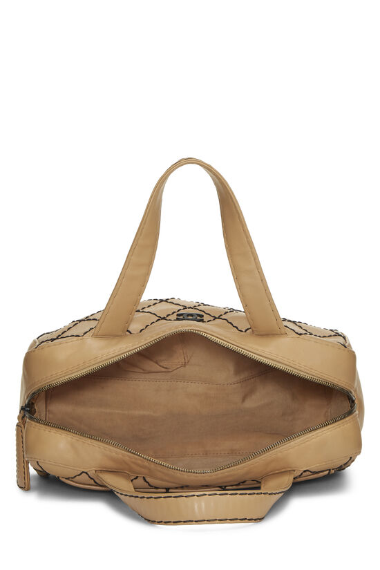 Beige Leather Wild Stitch Boston Bag, , large image number 5