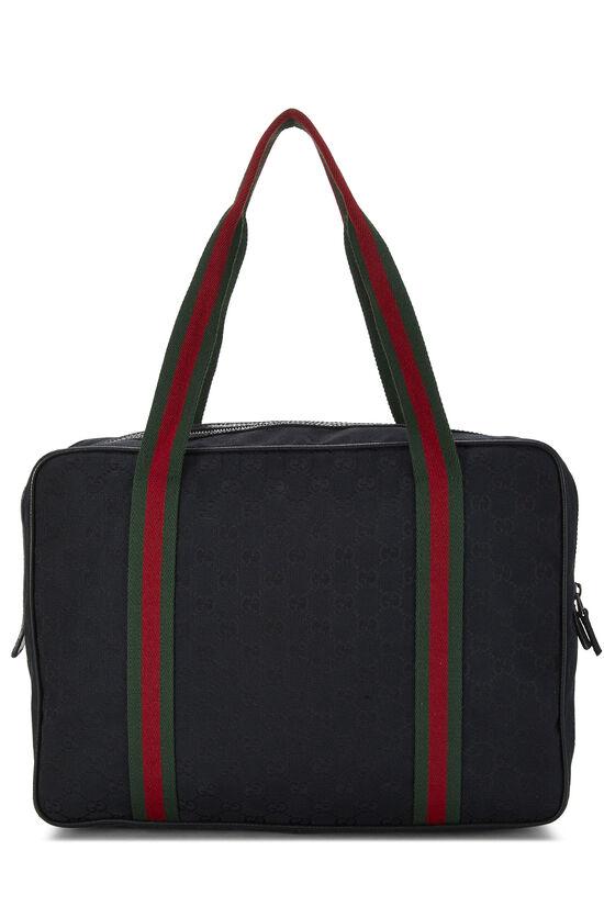 Black GG Canvas Web Briefcase, , large image number 3