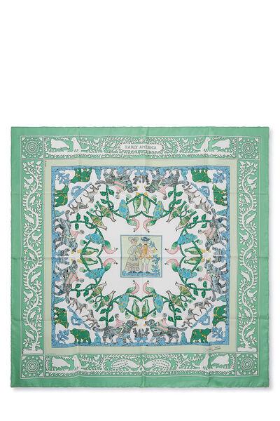 Green & Multicolor 'Early America' Silk Scarf 90