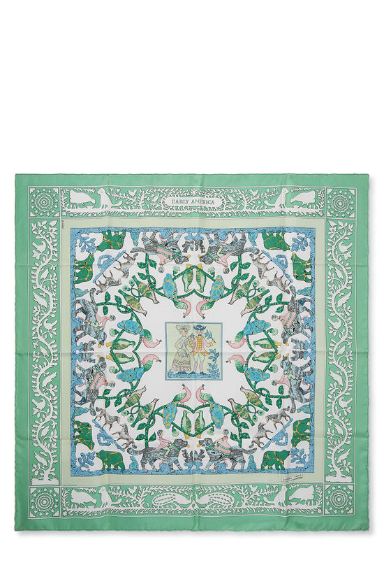 Green & Multicolor 'Early America' Silk Scarf 90, , large image number 0