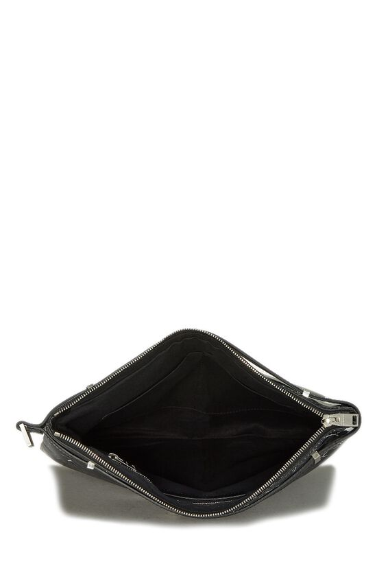 Black & White Marble Leather Phileas Clutch, , large image number 5