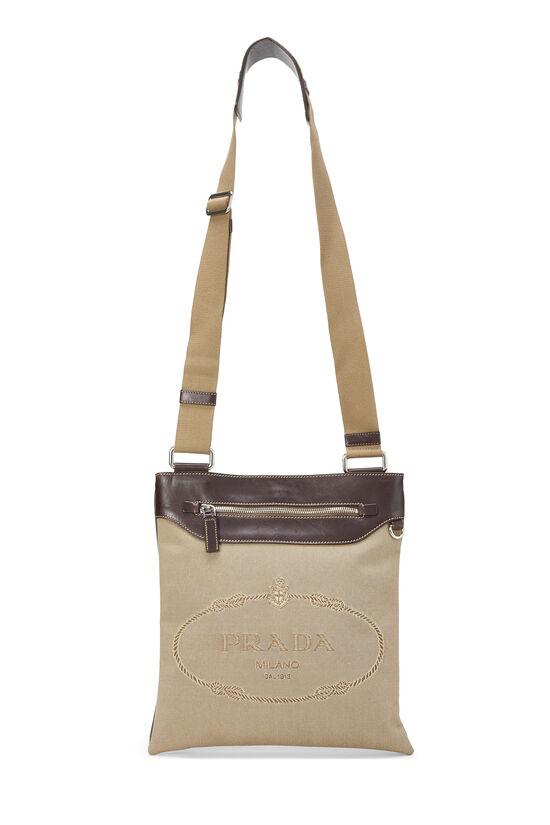 Beige Logo Canvas Messenger Bag, , large image number 6