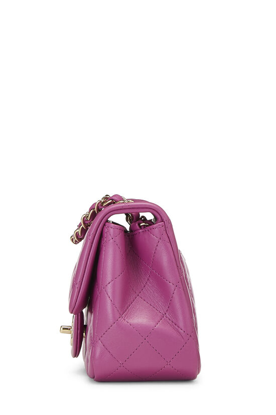 Purple Quilted Lambskin Classic Square Flap Mini, , large image number 2