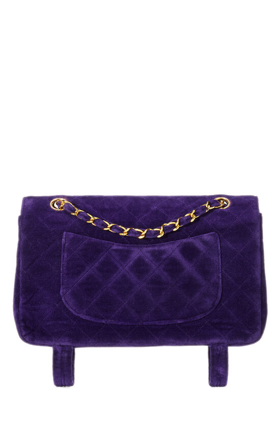 Purple Quilted Velour Magazine Flap Medium, , large image number 3