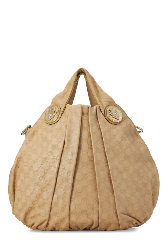 Beige Gucci Signature Leather Hysteria Convertible Tote Large, , large image number 0