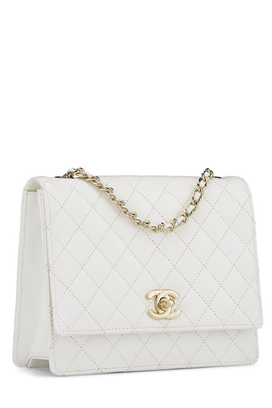 White Quilted Leather Shoulder Bag Small, , large image number 2