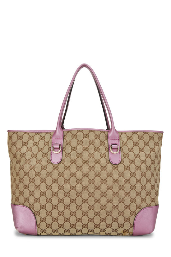 Pink GG Canvas Heart Bit Tote, , large image number 3