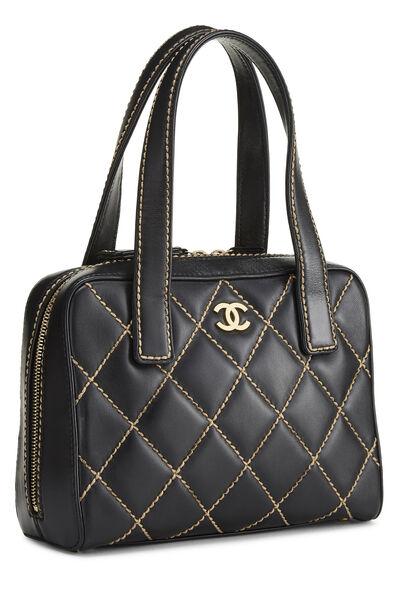 Black Leather Wild Stitch Boston Handbag, , large