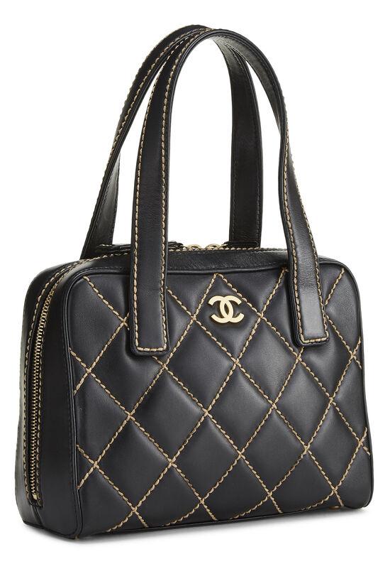 Black Leather Wild Stitch Boston Handbag, , large image number 1