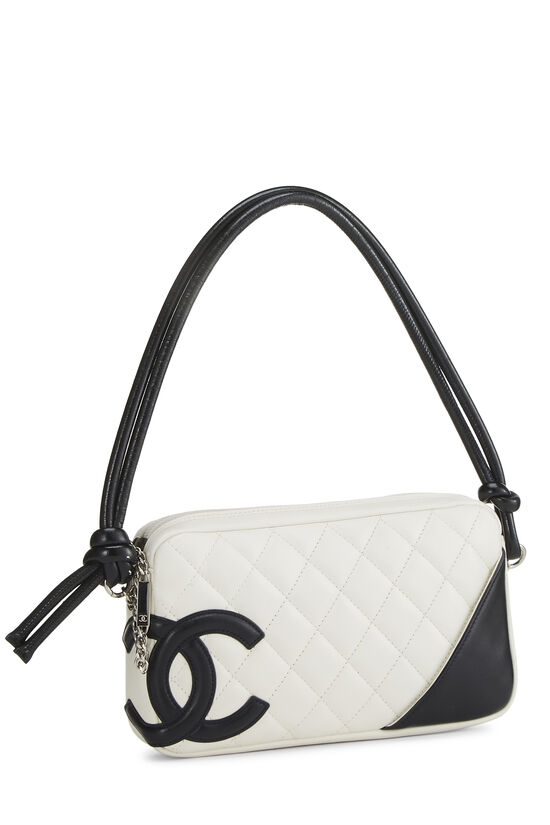 White Quilted Calfskin Cambon Ligne Pochette, , large image number 1