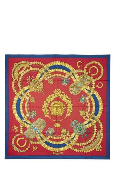 Red & Multicolor 'Kosmima' Silk Scarf 90