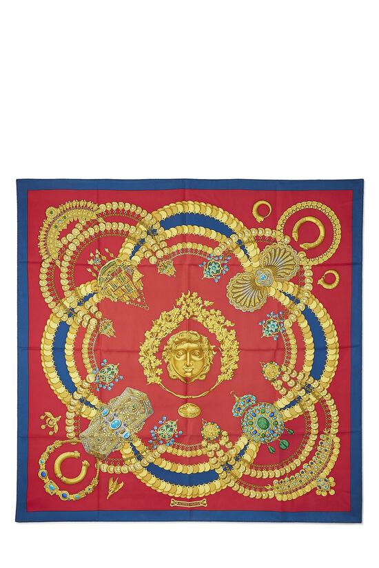 Red & Multicolor 'Kosmima' Silk Scarf 90, , large image number 0