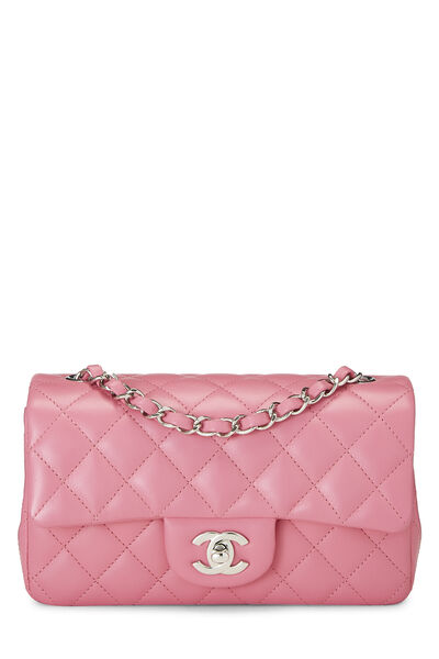Pink Quilted Lambskin Rectangular Flap Mini