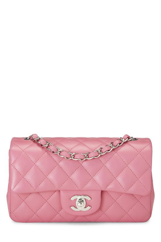 Pink Quilted Lambskin Rectangular Flap Mini, , large image number 0