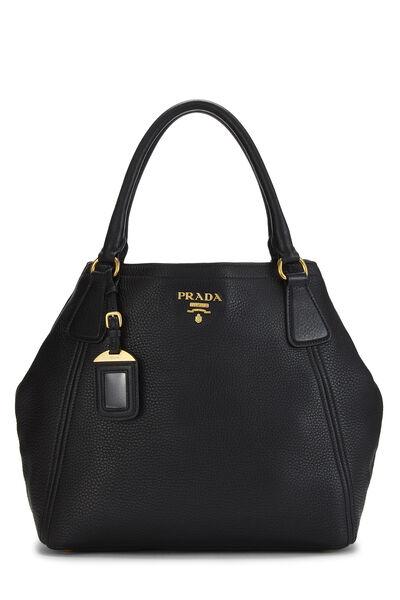 Black Vitello Daino Shoulder Bag