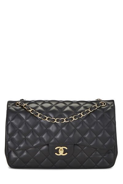 Black Quilted Lambskin New Classic Double Flap Jumbo
