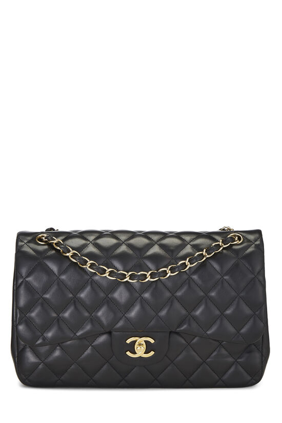Black Quilted Lambskin New Classic Double Flap Jumbo, , large image number 0