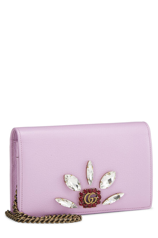 Pink Leather GG Marmont Wallet on Chain Mini, , large image number 1