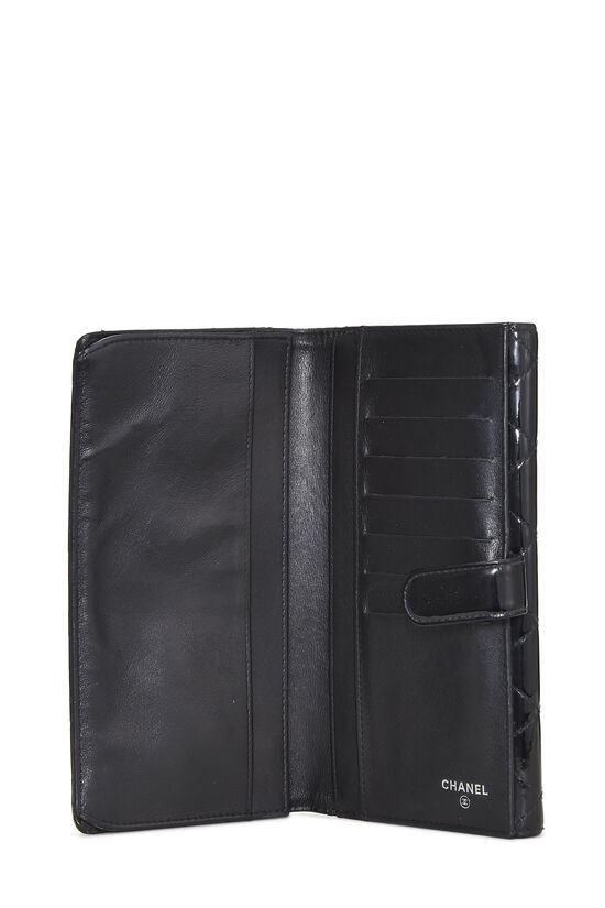 Black Quilted Patent Leather Flap Wallet, , large image number 3