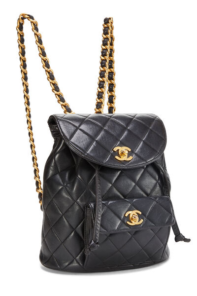 Black Quilted Lambskin 'CC' Classic Backpack Small, , large