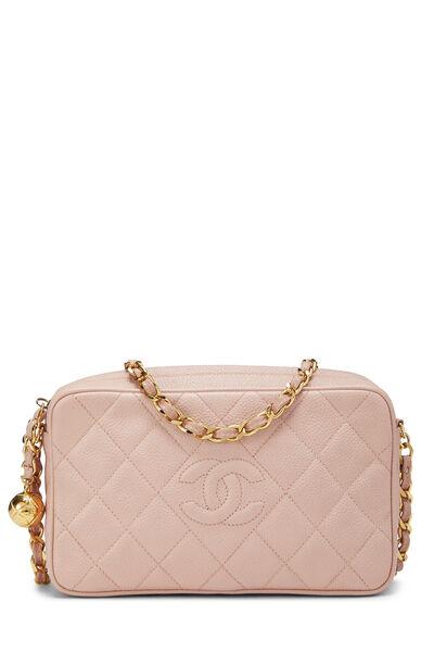 Pink Quilted Caviar Diamond Camera Bag Small