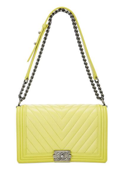 Yellow Chevron Lambskin Boy Bag Medium, , large