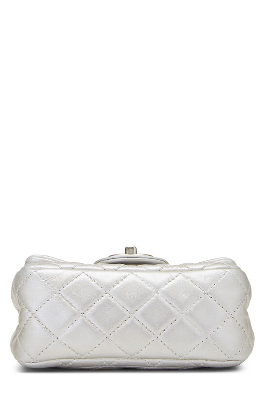 Metallic Silver Quilted Lambskin Classic Square Flap Mini, , large image number 4