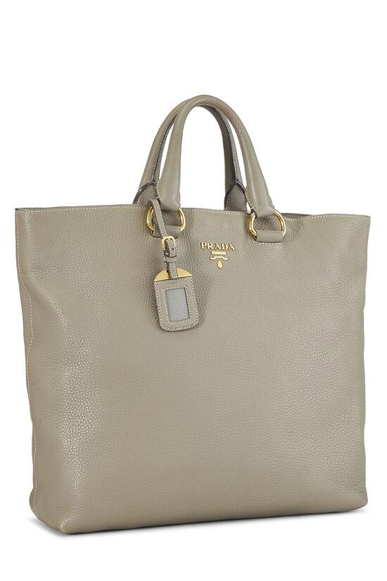 Grey Vitello Daino Shopping Tote Large, , large image number 1
