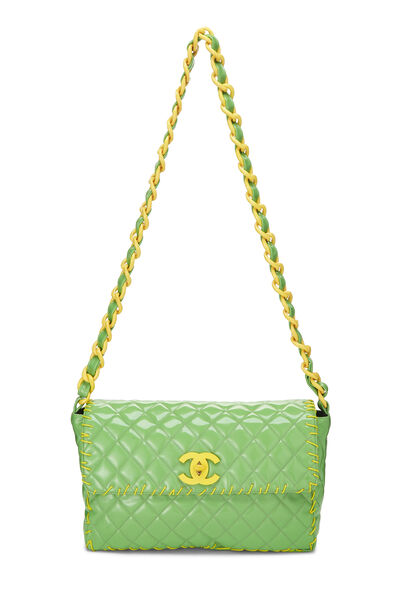 Green Quilted Vinyl Classic Flap Maxi, , large