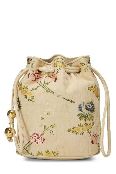 Beige Floral Brocade Bucket Bag