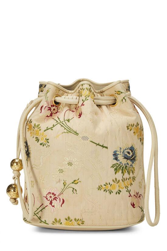 Beige Floral Brocade Bucket Bag, , large image number 0