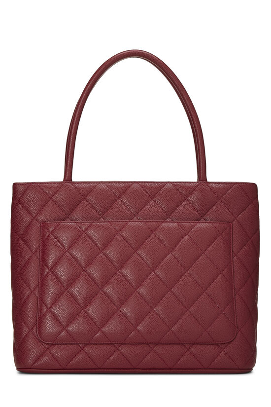 Burgundy Quilted Caviar Medallion Tote, , large image number 3