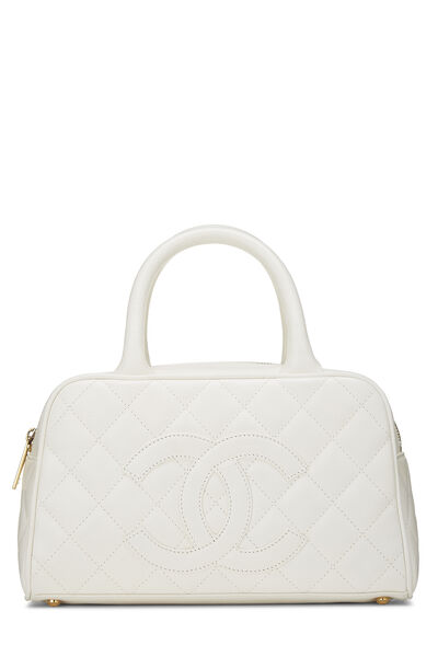 White Quilted Caviar Bowler Mini