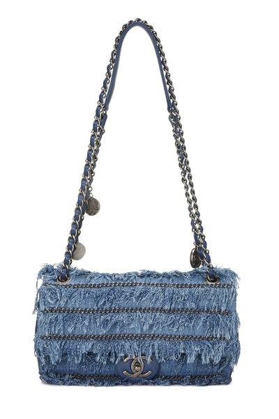 Blue Denim Fringed 'CC' Flap Bag