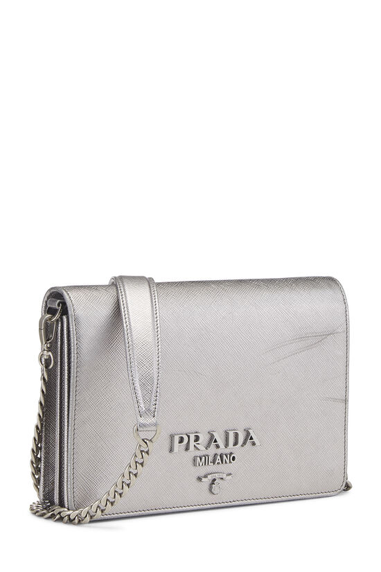 Silver Saffiano Leather Wallet-On-Chain (WOC), , large image number 2