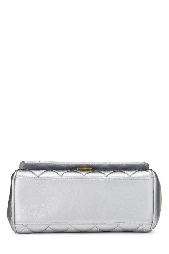 Metallic Silver Lambskin Top Handle Bag, , large image number 4