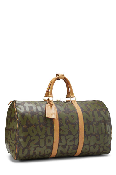 Stephen Sprouse x Louis Vuitton Green Monogram Graffiti Keepall 50, , large