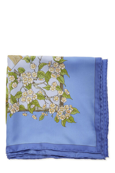 Blue & Multicolor 'Serenite' Silk Scarf 90, , large
