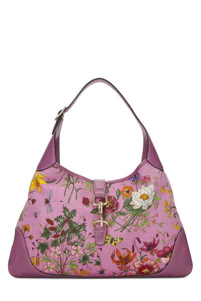 Purple Flora Canvas Jackie Hobo Large