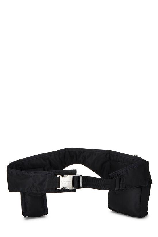 Black Nylon Check Belt Bag, , large image number 3