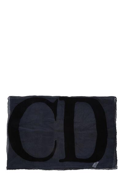 Navy Sheer Silk & Velvet Logo Scarf, , large