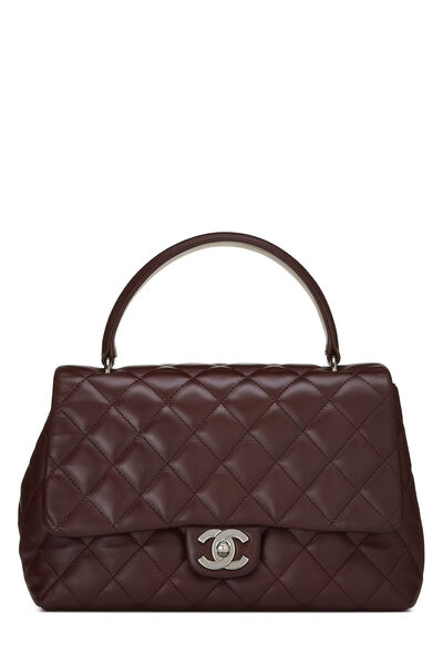 Burgundy Quilted Lambskin Kelly Small