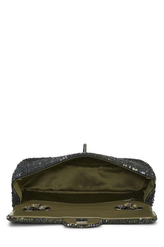 Paris-Cuba Olive Sequin Classic Flap Bag Medium, , large image number 5