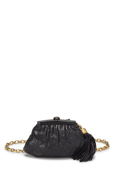 Black Quilted Lambskin Tassel Belt Bag