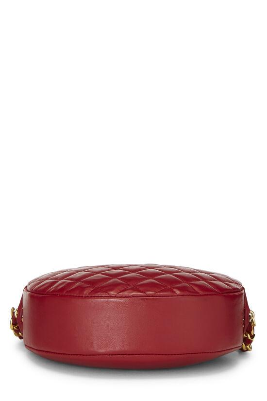 Red Lambskin 'CC' Round Shoulder Bag, , large image number 3