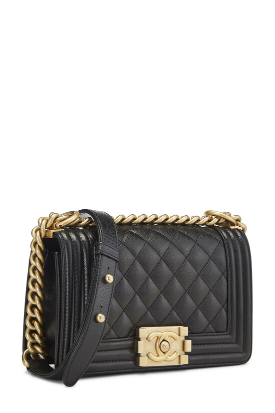 Black Quilted Caviar Boy Bag Small, , large image number 2