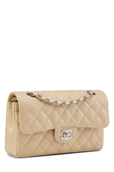 Beige Quilted Caviar Classic Double Flap Small, , large